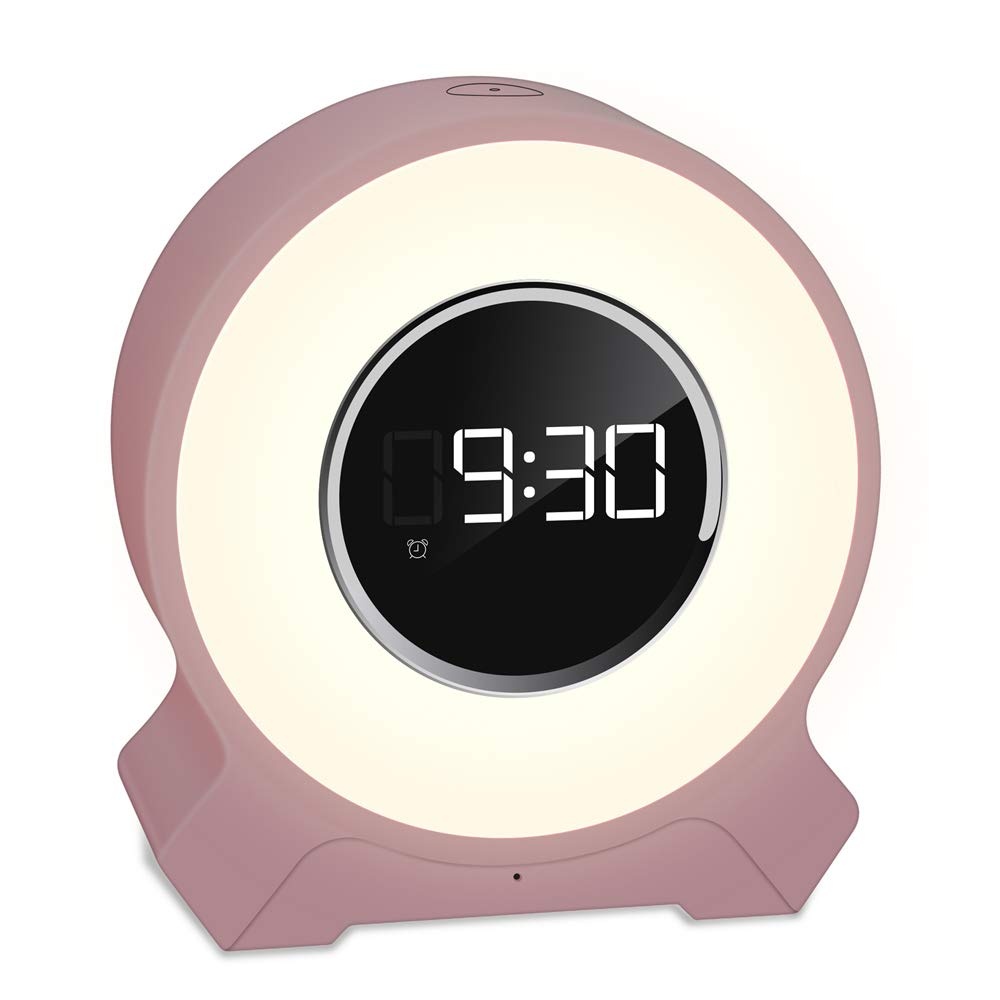 Alarm Clock Wake Up Light Touch Control Function Light Alarm Clock Wireless Bluetooth Speaker Wake Up Light with FM Radio Bedside Night Light Snooze Function Kids Alarm Clock by ASDFG