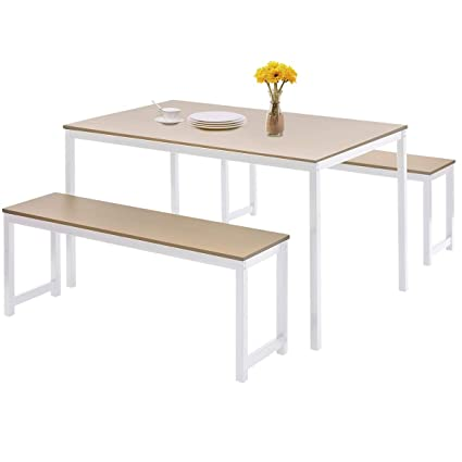 HARPER & BRIGHT DESIGNS 3-Piece Dining Table Set Kitchen Table with Two  Benches, Kitchen Contemporary Home Furniture, White