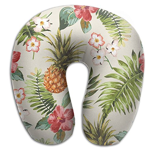 Seamless Tropical Flowers With Pineapple Comfortable U Type Pillow Neck Pillow Travel Pillows Super Soft Cervical Pillows With Resilient - Pillow Cashmere