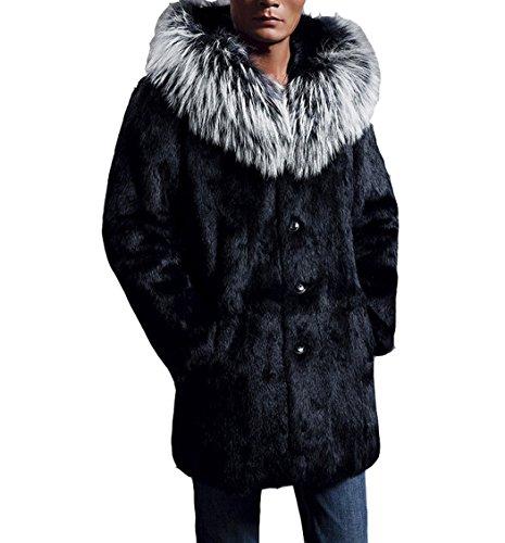 Mens Mink Coat - Men's Winter Warm Fake Mink Outwears Full Sleeve Plus Size Coat with Fake Mink Hooded Trim XL Black