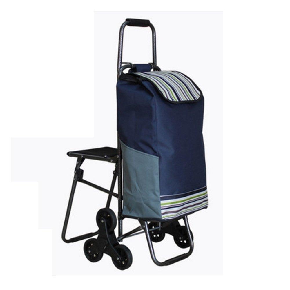 NAN 折り畳み食料雑貨の買い物カートトロリーの階段折りたたみカート トレーラー (色 : 青) B07DZBYSML 青 青