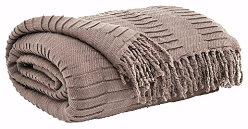 Ashley Furniture Signature Design - Mendez Solid Pleated Throw Blanket - Vintage Casual - Taupe