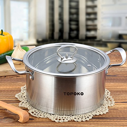 Big Sale-Topoko High Quality Stainless Steel 4-quart Saucepot - Perfect Family Soup Pot with Tempered Glass Lid Cooking Pot Cookware (Glasses Cooking Pot compare prices)