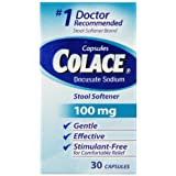 Colace Docusate Sodium Stool Softener, 100 mg Capsules, 30 Count