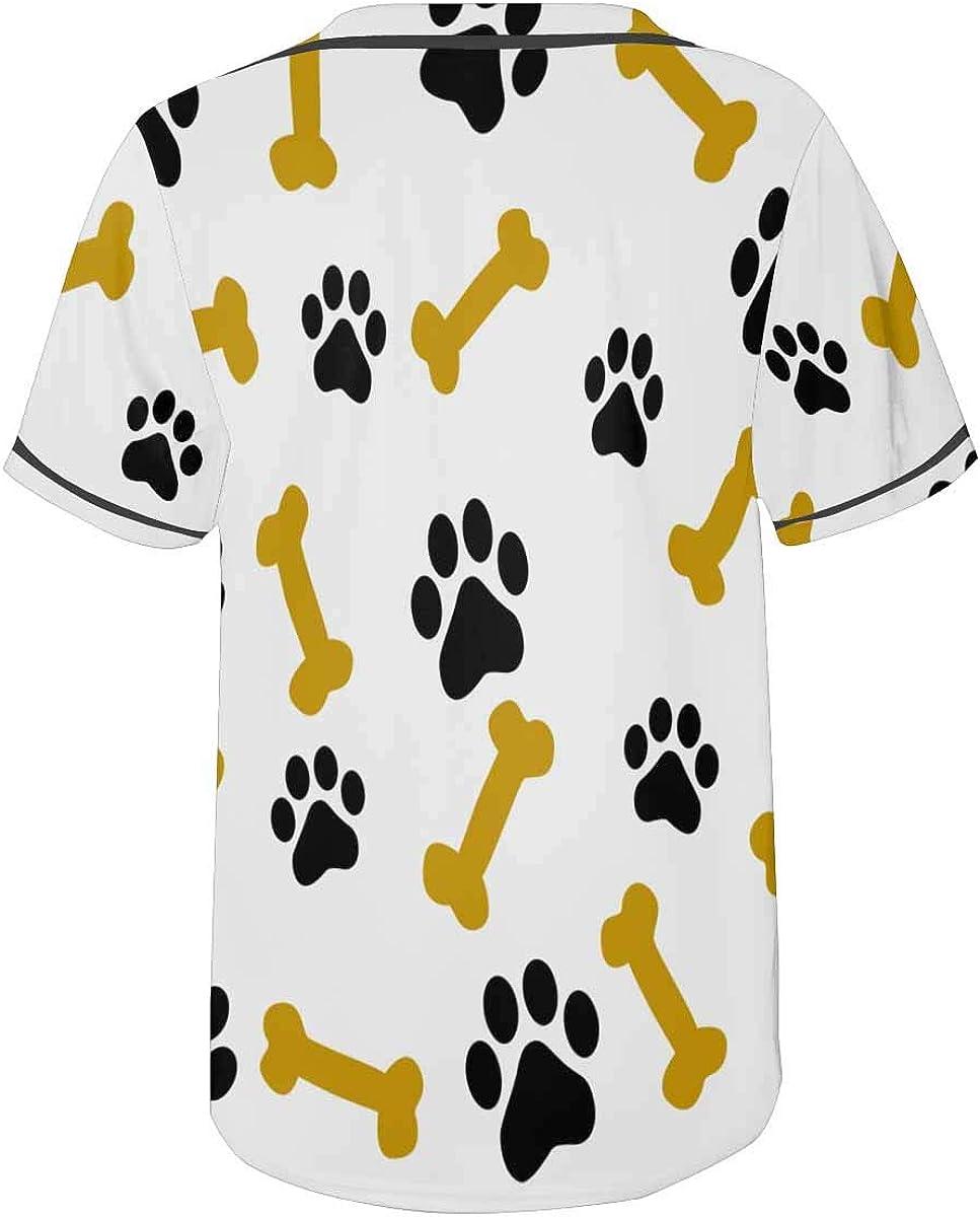 InterestPrint Mens Botton Up Animal Paw Footprints Short Sleeve Shirts