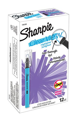 Sharpie Clear View Highlighter Stick, Chisel Tip, Fluorescent Blue, Box of 12 ()