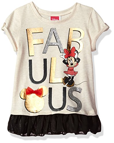 Disney Little Girls' Minnie Mouse Chiffon Trim T-Shirt, Light Heather Grey, 7/8
