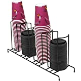 Sorbus Cup and Lid Organizer, Great for Office, Convenience Store, Coffee Shop, Buffet, and more, 4 Section Rack, Holds 5, 6 and 10 oz. Cups and Lids (Black)