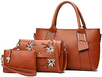 3 Piece Embossed Versatile Soft Zipper Bag Set Brown