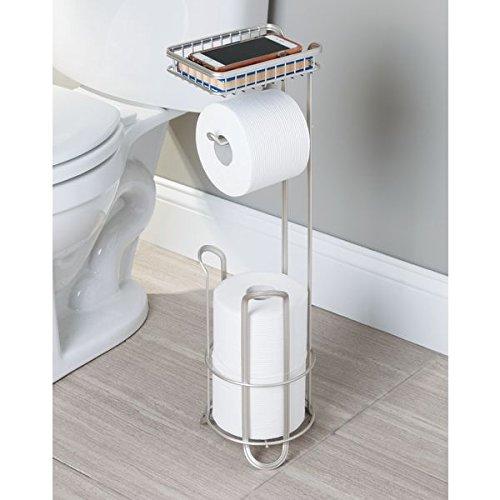 Interdesign york lyra free standing toilet paper holder with shelf for bathroom matte satin - Interdesign toilet paper holder ...