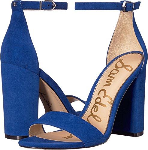 Sam Edelman Women's Yaro Ankle Strap Sandal Heel Deep Indigo Kid Suede Leather 5 M US