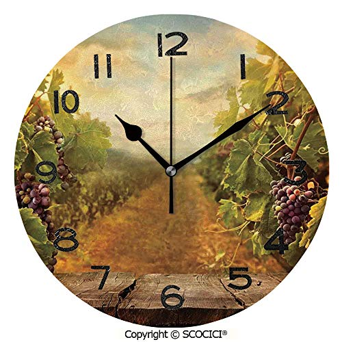 SCOCICI Round Wall Clock Vineyard Grapes Natural Rustic Vinatage Scenery Orchads Wine Home Kitchenware Cafe 10 inch Morden Wall Clocks Silent Round Decorative Clock