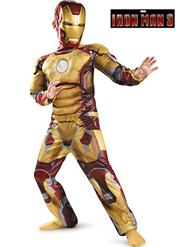 Marvel Iron Man 3 Mark 42 Boys Classic Muscle Costume, 7-8 -