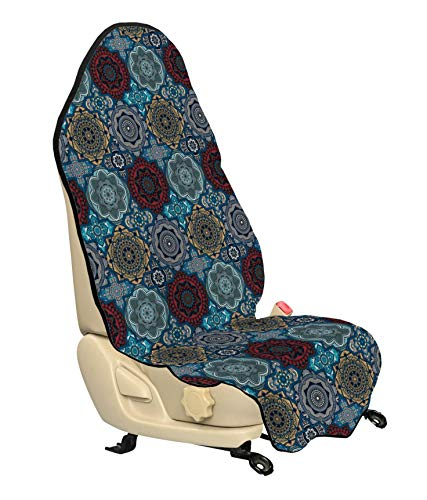 Ambesonne Moroccan Car Seat Cover, Patchwork Style Vintage Ottoman Inspiration Retro Ethnic Henna Motifs, Car and Truck Seat Cover Protector with Nonslip Backing Universal Fit, Ruby Blue Sand Brown