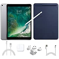 2017 New IPad Pro Bundle (5 Items): Apple 10.5 inch iPad Pro with Wi-Fi 64 GB Space Gray, Leather Midnight Blue, Apple Pencil, Mytrix USB Apple Lightning Cable and All-in-One Travel Charger