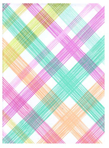American Plastics Rainbow Plaid Tablecloth Vinyl Flannel Backed 52 x 70 Rectangle