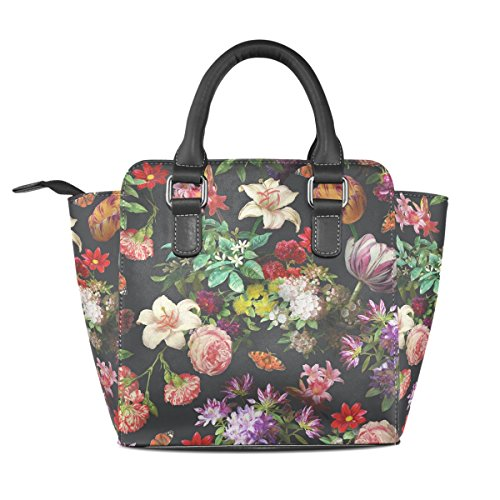 Tote Leather Handbags Shoulder Flower Bags Floral Women's TIZORAX Butterfly z8pXx4q