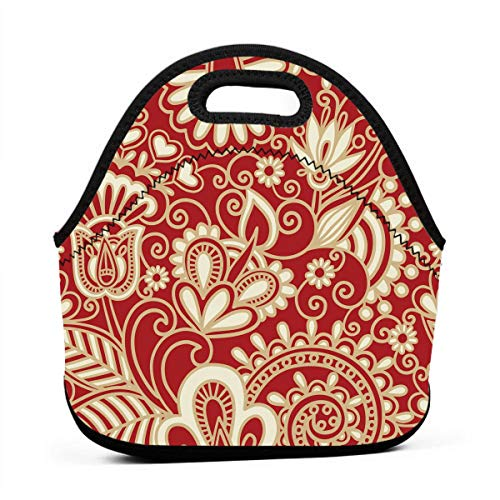 Janeither Abstract Red Floral Art Portable Reusable Lunch Bag Waterproof Picnic Tote Insulated Cooler Zipper - Baby Nba Dvd