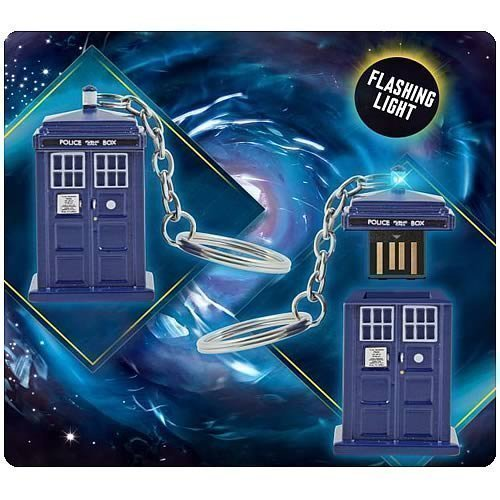 Price comparison product image Doctor Who Memory Stick - TARDIS 4GB USB Key Chain with Flashing Blue LED Light
