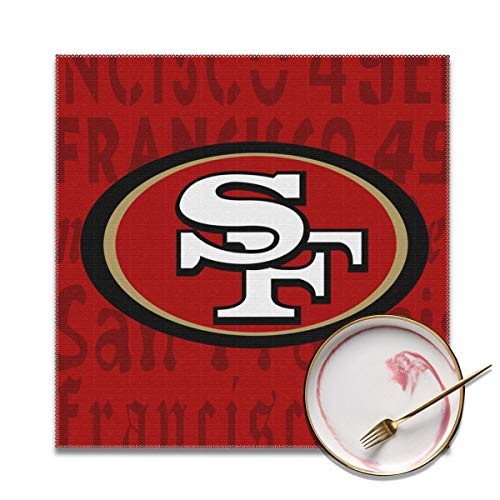 - Gdcover San Francisco 49ers Placemats Set of 4 for Dining Non-Slip Heat-resistand Washable Kitchen Table Mats - 12x12 Inches