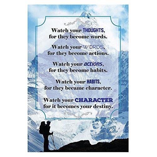 for they become words. Motivational Quote Poster for Office Staff College Athletes Teams School Classrooms and Home - 13x19 in Inspirational Paper Poster Proudly Made in the USA (Thoughts Become Words)
