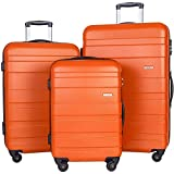 Merax Aphro 3 Piece Luggage Set Lightweight ABS Spinner Suitcase (Orange)
