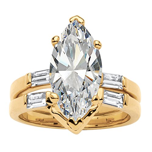 Palm Beach Jewelry 18K Yellow Gold-Plated Marquise Shaped Cubic Zirconia Bridal Ring Set CZ Baguette Accents Size 8 ()