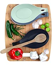 WJY-Modern Silicone Spoon Rest - Kitchen Utensil Holder - Quality Material (Set of 2)