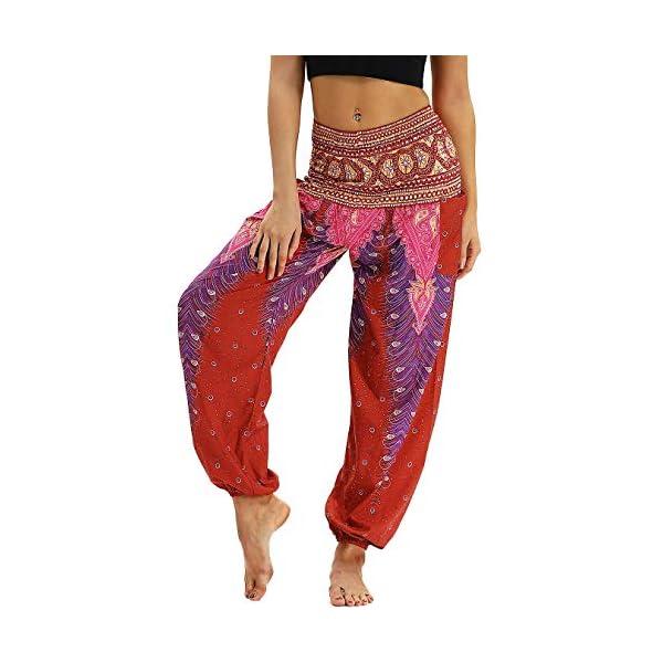 Nuofengkudu Donna Pantaloni Harem Vita Alta con Tasconi Thai Bohemian Cartamodelli Leggeri Estivi Yoga Pants Spiaggia Vacanza