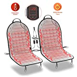 Zone Tech Car Heated Seat Cover Cushion Hot Warmer - 2-Piece Set 12V Heating Warmer Pad Hot Gray Cover Perfect for Cold Weather and Winter Driving