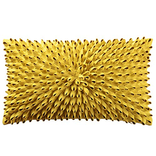 King Rose 3D Flower Accent Throw Pillow Case Super Soft Decorative Cushion Cover for Bed Living Room Sofa 12 x 20 Inches Solid Suede Mustard Yellow (Living Pillows Room Decorative)