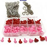130PCS D-shape 5 Sizes 8-16mm Plastic Safety Noses Eyes with Washers for Bear Doll Animal Puppet Crafts DIY Sewing Crafting Buttons (Pink & Red)