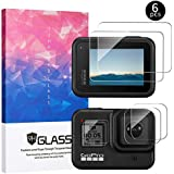 (6 PCS) Screen Protector for GoPro Hero 8 Black, Tempered Glass Screen Protector+Lens Protector+HD Front Display Protective Film, Ultra Clear/ 9H Hardness/Easy Installation/no air Bubbles