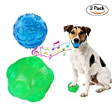Eunon Dog Ball, 3.5 Inch Durable Rubber Dog Toy Indestructible Balls Training Playing Pet Balls - Pack of Two (Green and Blue)