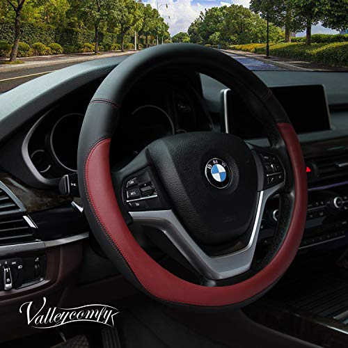 Valleycomfy Microfiber Leather Steering Wheel Cover Universal 15 inch, Wine Red ()