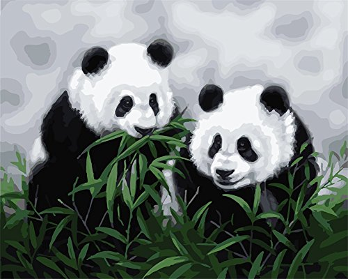 YEESAM ART Paint by Number Kits for Adults Kids - Panda Brothers 16x20 inch Linen Canvas (Without Frame)