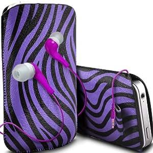 ONX3 Samsung Galaxy Ace 3 S7270 / s7272 protección Zebra PU Leather Slip Tire Cord En la bolsa del lanzamiento rápido con 3.5mm MP3 en la oreja los auriculares ergonómicos (púrpura)