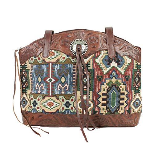 American West Bella Beau Leather and Tapestry Half Moon Zip Top - Half Moon Zip