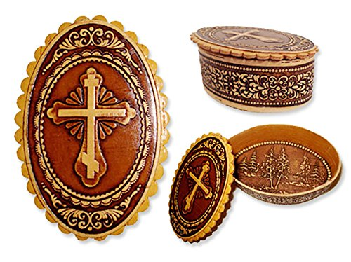 Alexandra Int Wooden Birch Rosary Prayer Beads Keepsake Box With Three Bar Cross 3 Inch