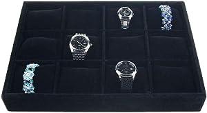 XinTan Tiger Watch Tray 12 Slots Watch Tray Velvet Watch Show Tray Jewelry Watch Show Box Jewelry Trays Stackable (Black)