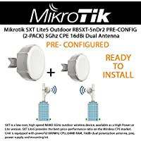 Mikrotik SXT Lite5 RBSXT-5nDr2 (2-PACK) Outdoor Wireless Device, 5Ghz CPE 16dBi Dual Polarity Antenna, OSL3PRE-CONFIGURED / READY TO INSTALL