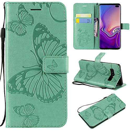 Galaxy S10 Plus Wallet case, Ankoe Pretty Retro Butterfly Flower Design Pu Leather Book Style Wallet Flip Case Cover for Samsung Galaxy S10 Plus 2019 Release (Green)