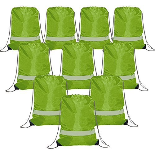 Assortment Bottle Bag - Drawstring Backpack Bags Reflective 10 Pack, Promotional Sport Gym Sack Cinch Bag (Green)