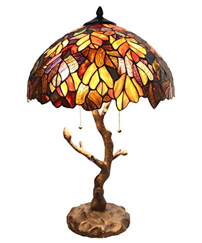 Wisteria Violet Tree - River of Goods Enchanted Forest Tiffany Style Stained Glass Table Lamp with Tree Trunk Base,24.5