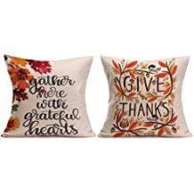 """Thanksgiving Decorative Pillow Cushion Cover - Wonder4 Give Thanks and Gather Here with Greatful Hearts Thanksgiving Fall Throw Pillow Case Cushion Cover Decorative 18"""" x 18"""" for Home Decor (2 Packs)"""