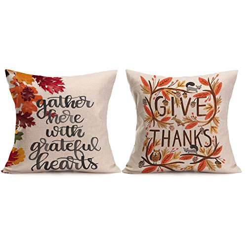 Thanksgiving Decorative Pillow Cushion Cover - Wonder4 Give Thanks and Gather Here with Greatful Hearts Thanksgiving Fall Throw Pillow Case Cushion Cover Decorative 18