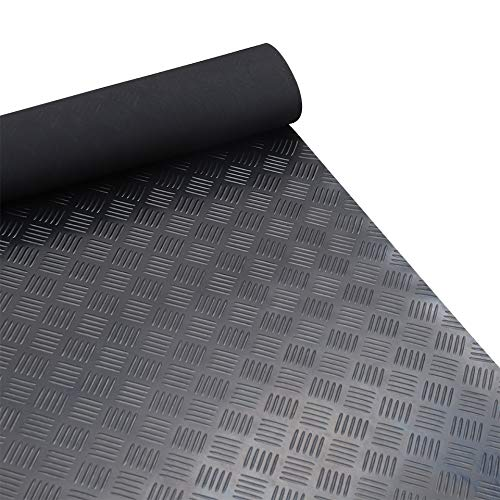 FIDOOVIVIA Heavy Duty Rubber Floor Mat Anti-Slip Waterproof Garage Mat Rubber Gym Mat Floor Matting Roll 5 Bar Checker Plate 4m x 1.2m x 3mm LxWxH
