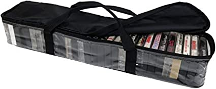 Imperius VHS Clear Storage Bag Dustproof Blcak Set of 2 Movie Organizer-Video Tape Moistureproof Handles