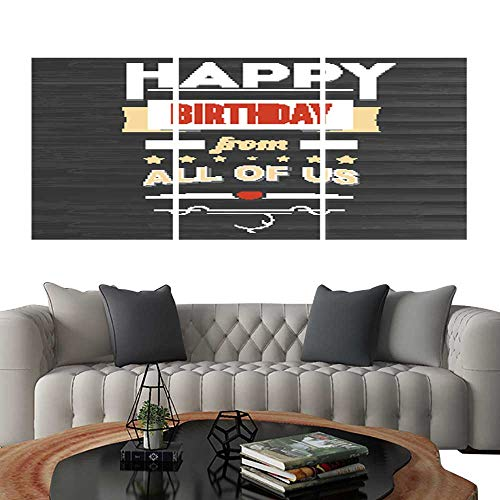 (Prints Wall Art PaintingsHappy Birthday vintage text poster composition on backdrop from dark wooden planks Not trace Template for postcards or greeting cards with love for loved ones. Customizab)