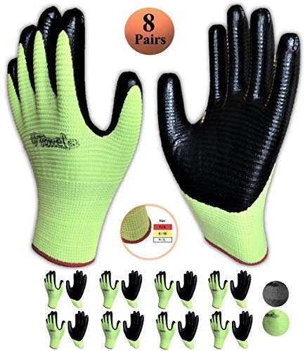 Work Gloves Dipped with Nitrile Latex Rubber Coating for Men and Women, 8-Pairs, Safety Gloves for Work, Working Gloves for Gardening (Small, Green)